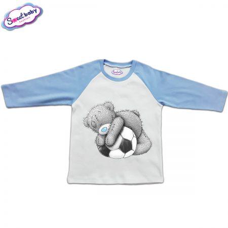 Блузка с дълъг ръкав в синьо и бяло Мечо футболист