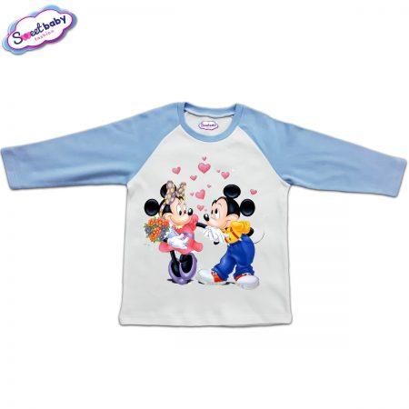 Блузка с дълъг ръкав в синьо и бяло Мики влюбен
