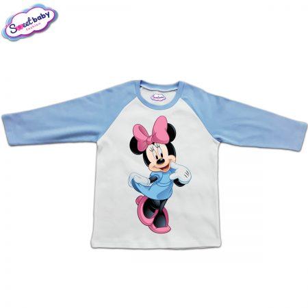 Блузка с дълъг ръкав в синьо и бяло Мини Маус
