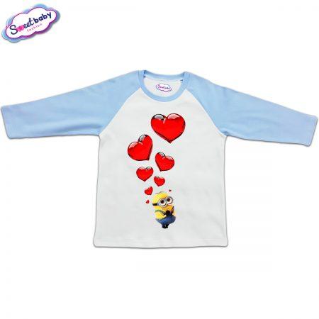 Блузка с дълъг ръкав в синьо и бяло Миньон и сърца