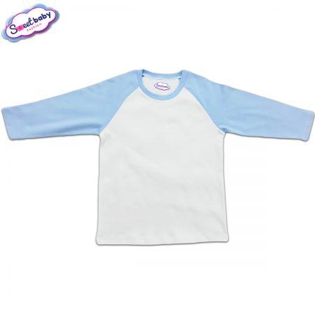 Блузка с дълъг ръкав в синьо и бяло