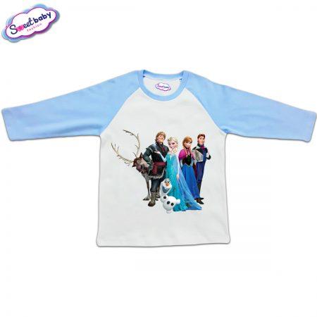Блузка с дълъг ръкав в синьо и бяло Frozen