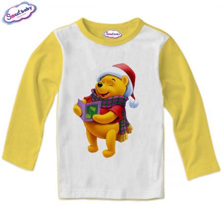 Детска блузка в жълто Мечо Пух пее