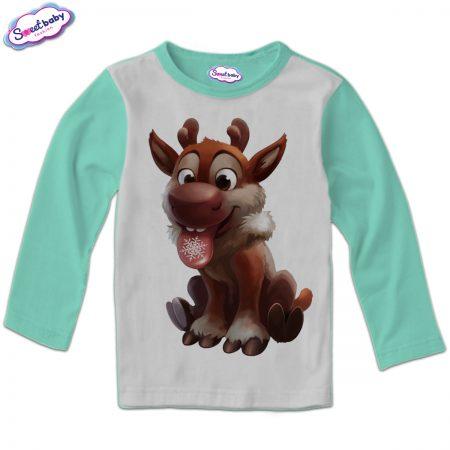 Детска блузка в мента Коледно еленче