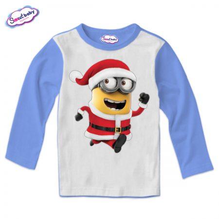 Детска блузка в синьо Коледен миньон