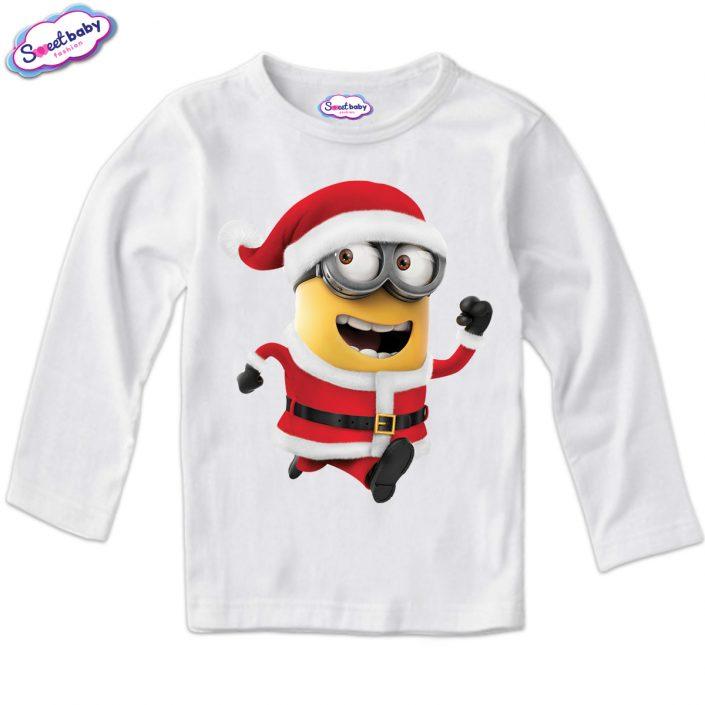 Детска блузка с дълъг ръкав в бяло Коледен миньон