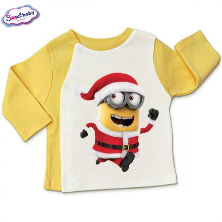 Бебешка жилетка в жълто и бяло Коледен миньон