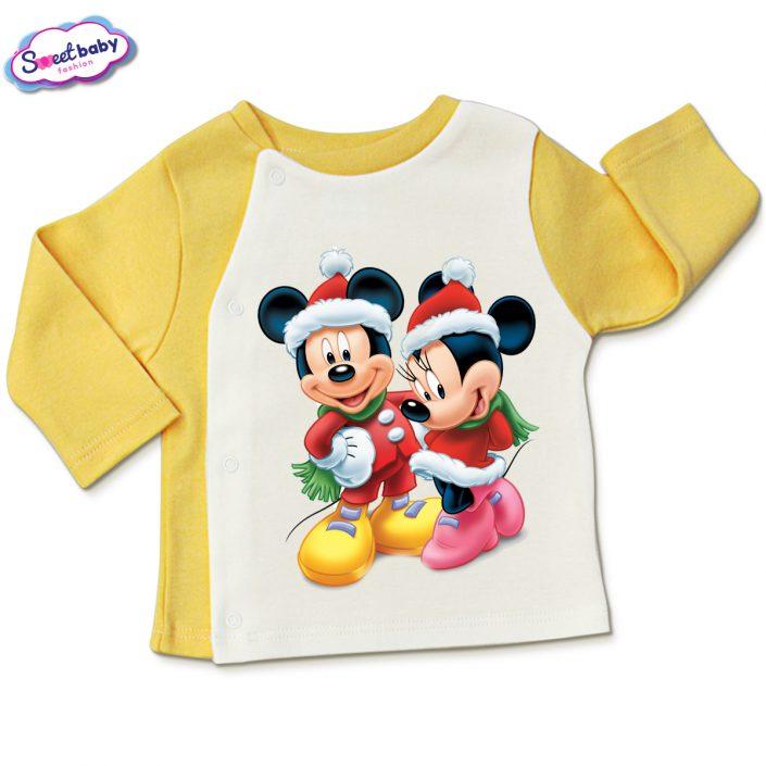 Бебешка жилетка в жълто и бяло Мики и Мини на Коледа