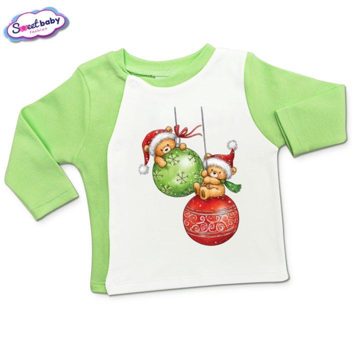 Бебешка жилетка в зелено и бяло Коледни топки