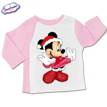 Бебешка жилетка в розово и бяло Мини с коледен костюм