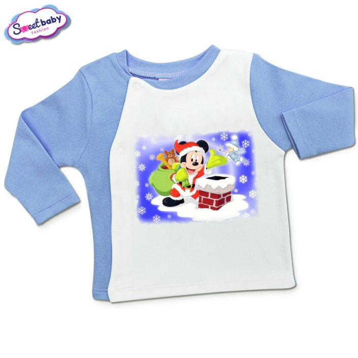 Бебешка жилетка в синьо и бяло Мики дядо Коледа