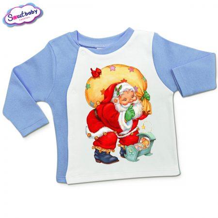 Бебешка жилетка в синьо и бяло Подарък за Зайко