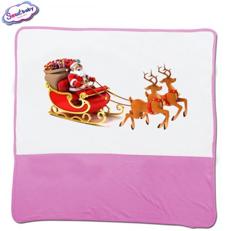 Бебешка пелена в розово и бяло Дядо Коледа с шейна