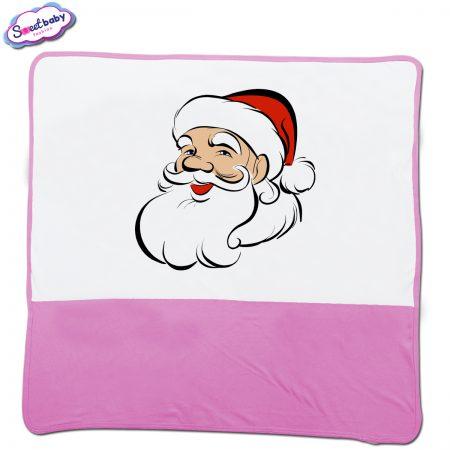 Бебешка пелена в розово и бяло Дядо Коледа