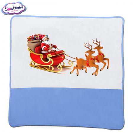 Бебешка пелена в синьо и бяло Дядо Коледа с шейна