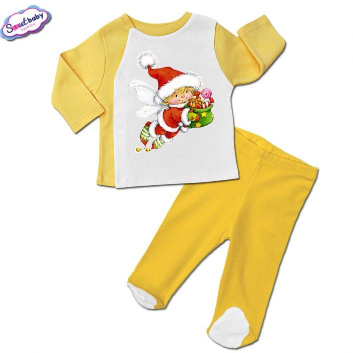 Бебешки сет ританки с жилетка в жълто Коледен елф