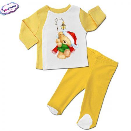 Бебешки сет ританки с жилетка в жълто Коледен мечок