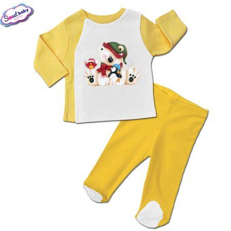 Бебешки сет ританки с жилетка в жълто Мече с приятели