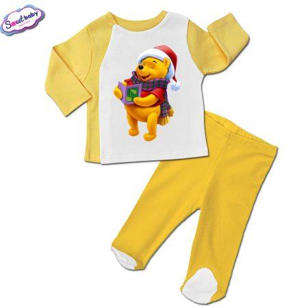 Бебешки сет ританки с жилетка в жълто Мечо Пух пее