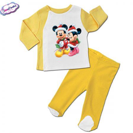 Бебешки сет ританки с жилетка в жълто Мики и Мини на Коледа