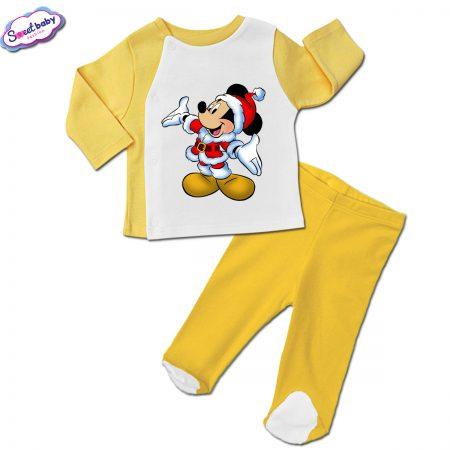 Бебешки сет ританки с жилетка в жълто Мики сколеден костюм