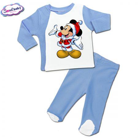 Бебешки сет ританки с жилетка в синьо Мики с коледен костюм