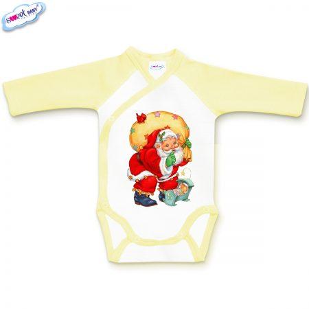 Бебешко боди прегърни ме в жълто и бяло Подарък за Зайко