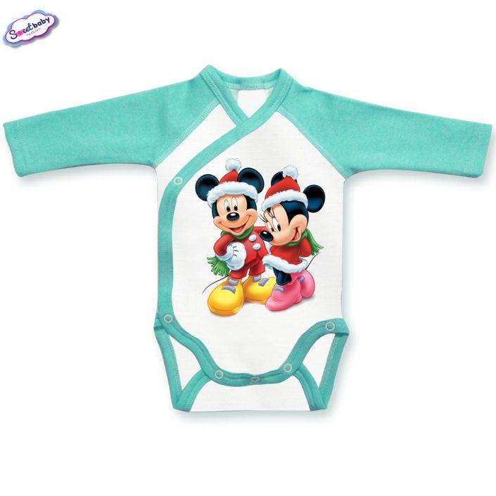 Бебешко боди прегърни ме в мента и бяло Мики и Мини на Коледа