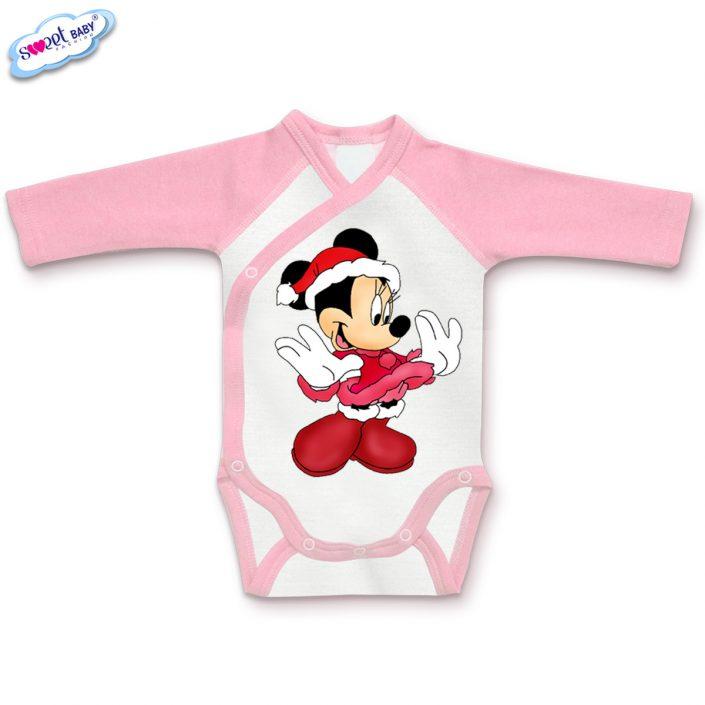 Бебешко боди прегърни ме в розово и бяло Мини с коледен костюм