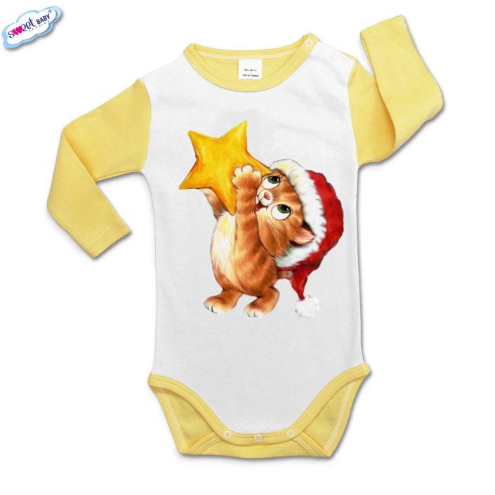 Бебешко боди с дълъг ръкав в жълто и бяло Коте със звезда