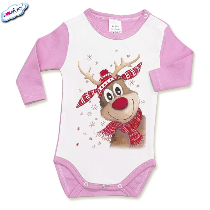 Бебешко боди с дълъг ръкав в розово и бяло Коледно еленче с шал