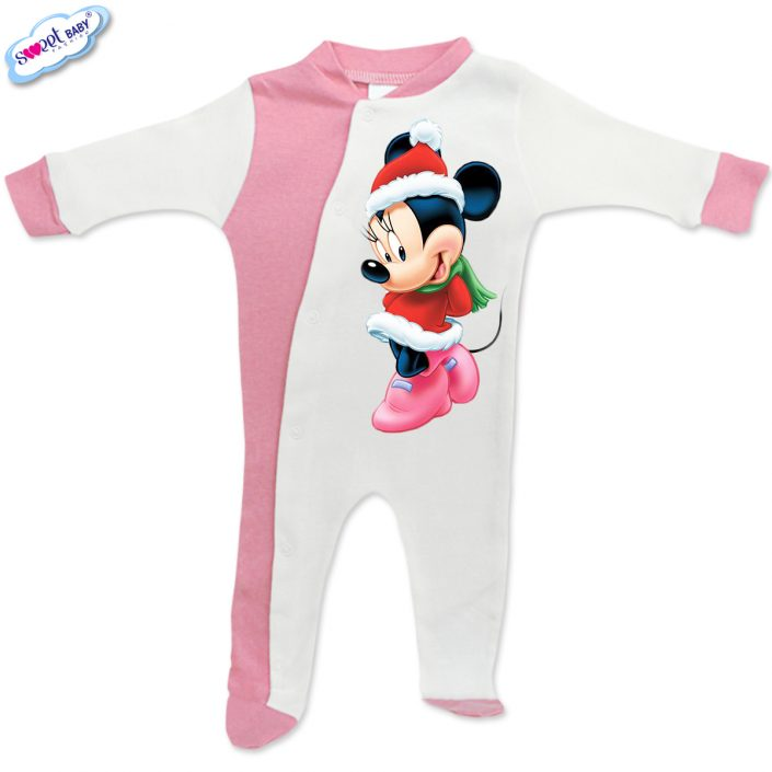 Бебешко гащеризонче в розово и бяло Мини с коледен тоалет