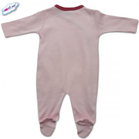 Бебешко гащеризонче в розово и бяло с кант циклама гръб