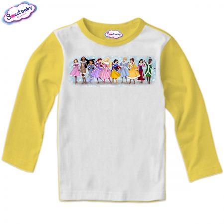 Детска блузка в жълто Зимни принцеси