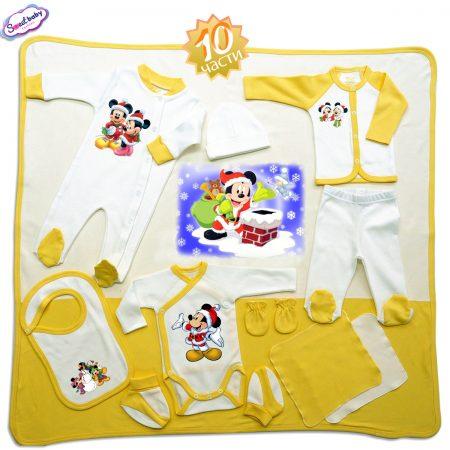 Комплект за изписване в жълто Мики Маус на Коледа 10 части