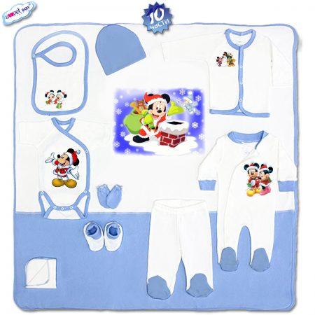 Комплект за изписване 10 части в синьо Мики Маус на Коледа