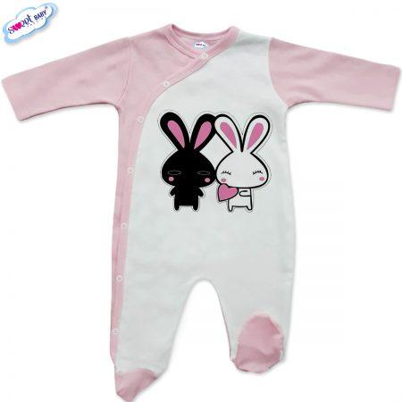 Бебешко гащеризонче в бяло и розово Влюбени зайчета
