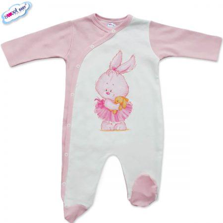 Бебешко гащеризонче в бяло и розово Розово зайче