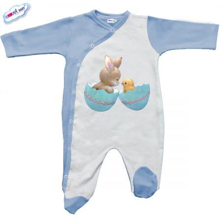 Бебешко гащеризонче в синьо и бяло Зайче и пиле