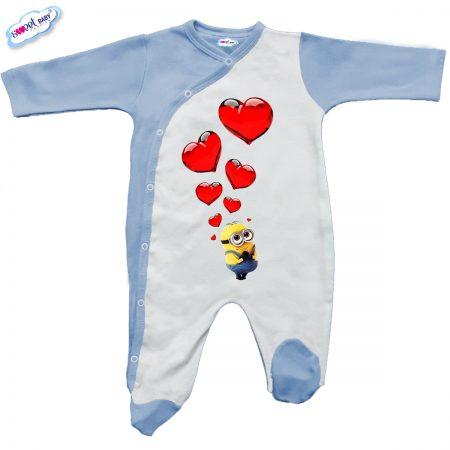 Бебешко гащеризонче в синьо и бяло Миньон и сърца
