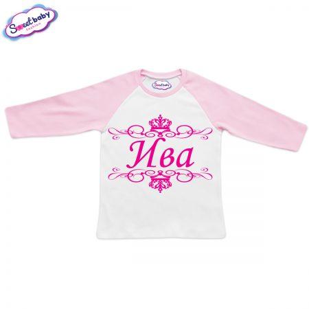 Блузка с дълъг ръкав в розово и бяло Ива