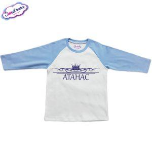Блузка с дълъг ръкав в синьо и бяло Атанас