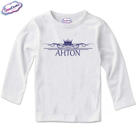 Детска блузка с дълъг ръкав в бяло Антон