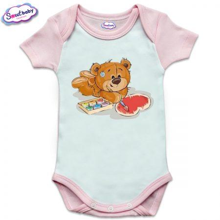 US бебешко боди с къс ръкав в розово и бяло Мечо рисува сърце