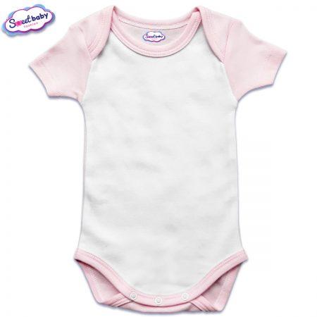 US бебешко боди с къс ръкав в розово и бяло
