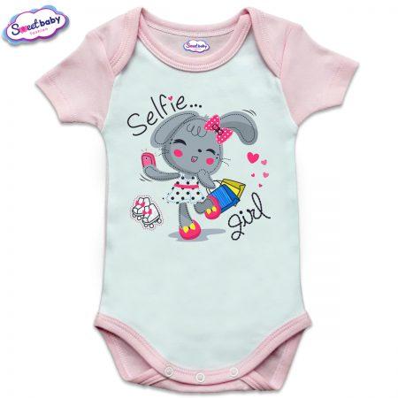 US бебешко боди с къс ръкав в розово и бяло Selfie girl