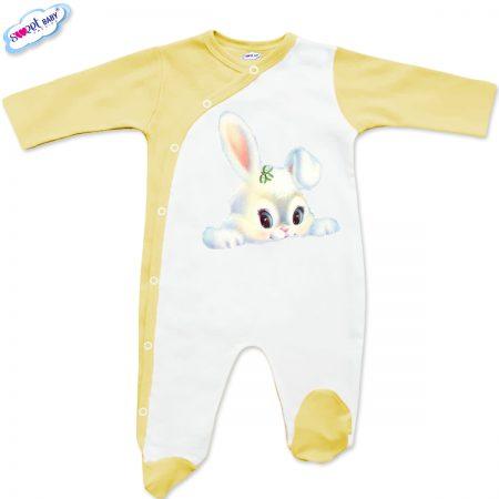 Бебешко гащеризонче в бяло и жълто Бяло зайче