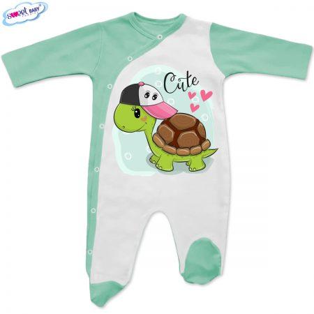 Бебешко гащеризонче в бяло и мента Сладко костенурче