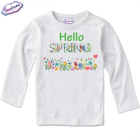 Детска блуза с дълъг ръкав в бяло Spring