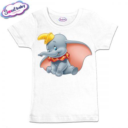 Детска тениска в бяло Дъмбо Дисни